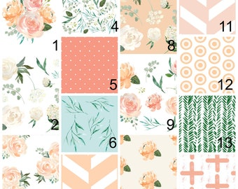 Pink Girls Nursery bedding Set, Peach Floral Fitted Crib Sheets, Flowers Baby Blanket - Crib Bumper, Rail Guard Covers - Leaves Change Pad