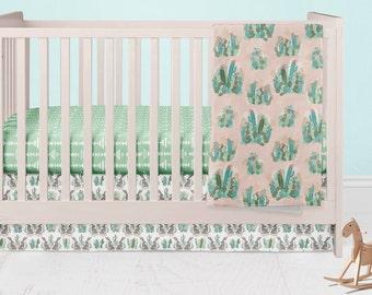 Cactus Crib Bedding- Desert Fitted Crib Sheet- Southwest Baby Minky Blanket- Rustic Crib Skirt- Rail Guard Covers- Crib Bumpers- Nursery Bed