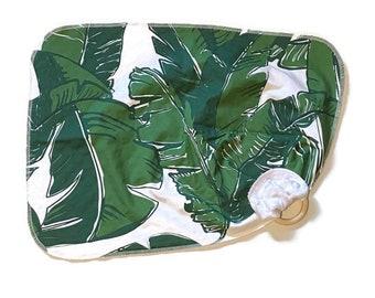 Green Palm Baby Lovey - Tropical Leaves Lovie Blanket - Green Plant leaf Newborn Receiving Blanket- Infant Blanket Girls Rustic Baby teether