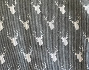"""27""""  x 58"""" wide piece canvas fabric - deer - spoonflower Cotton twill fabric rewashed"""