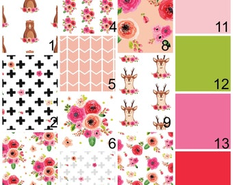 Woodland Floral Nursery Bedding - Floral Fawn Fitted Crib Sheet - Baby Girl Flowers Change Pad Cover- Pink Rail Guard Cover Baby Blanket