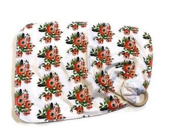 Red Poppy Baby Lovey - Small Floral boho feathers Lovie Blanket - flowers Newborn Receiving Blanket- Infant Blanket Girls Pink Baby teether