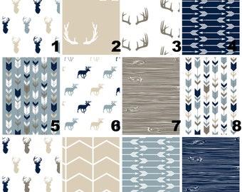 Woodland Nursery Bedding Sets - Tan Navy Blue change Pad - Antlers Wood Grain rail guard- Horns Baby Swaddle Blanket- Fitted Crib Sheet Boy