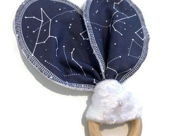 Constellations  Baby Teether - Star Night Natural Wooden Teether Toy - Bunny Eared Teether- Navy Baby Shower Gift - Astrology Newborn- Grey