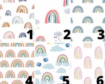 Rainbow Baby Nursery Sets - Blue Boy Rainbow Crib Sheets, Cloud Heart Rain Drops Changing Pad Cover, Girls Crib Skirt - Teal Swaddle Blanket