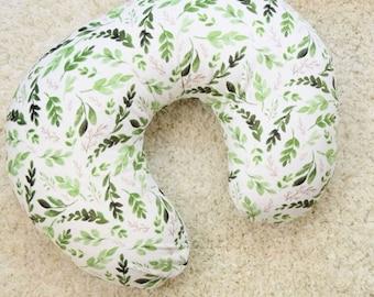 Neutral Nursing Pillow Cover- Leaves Pillow Cover - Modern Slipcover - Green foliage Gender Neutral Slipcover - Green Leaf Nursing Pillow