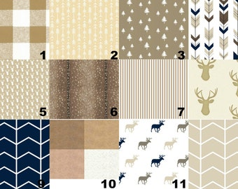 Woodland Baby Bedding - Tan Brown Deer Fitted Crib Sheet, Arrow Changing Pad Cover, Buck Crib Skirt, Swaddle Blanket Arrows Baby Shower Gift