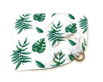 Green Palm Baby Lovey - Tropical Leaves Lovie Blanket - Green Plant leaf Newborn Receiving Blanket- Infant Blanket Girls Lovie Baby teether