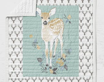 Deer Twin, Full, Queen Sized Quilt Buck Bedding Rustic Kids Bedroom Blue Gender Neutral Woodland Animals Wild and Free Floral Nature  Doe