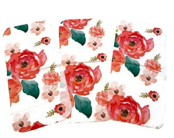 Red Poppy Burp Cloths (Set of 3) Baby Shower Gift Set-  Pink Floral Infant Burping Rags- Breastfeeding Feeding Newborn  Girls Flower Nursery