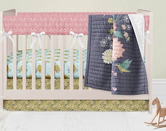 Bumble Bee Crib Bedding Set Flowers Crib Skirt Hive Fitted Crib Sheet Floral Baby Blanket Gold Rail Guard Covers Pink Crib Spring Bed Baby
