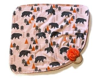 Black Bear Baby Lovey - Woodland Animal Lovey Blanket Newborn Receiving Blanket- Bears Orange Brown Nursery Rustic Nursery- Wooden Teether