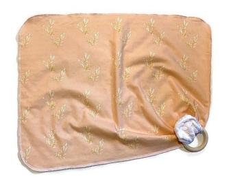 Light Pink Leaf Baby Lovey - Small Peach Lovie Blanket - Leaves Newborn Receiving Blanket- Infant Blanket Girls Rustic Baby Leaves teether
