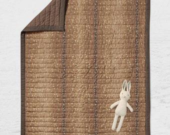 Baby Quilt Woodland Throw Blanket - Hunting Baby Bedding - Deer Skin Crib Bedding - Buck Nursery - Woodland Nursery - Gender Neutral Brown