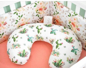 Cactus Nursing Pillow Cover - Cacti Cover for Boys -Green Succulent Slipcover - Floral Desert Nursery Bedding - Pillow Cover - Minky newborn