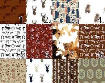 Western Cowboy Nursery Crib Bedding set- Baby Blanket -Toddlers Fitted Sheets -Rustic and Modern -Arrows Cow Hide Fabrics Rail Covers