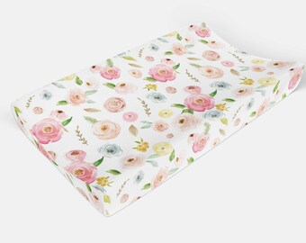 Floral changing pad cover -Flowers change Pad Cover - Rose Gold Girls Pink Baby Bedding Diaper Pad - Peach Nursery Fitted Crib Sheet- leaf