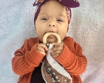 Deer Baby Teether - Natural Wooden Teether Toy  - Bunny Eared Teether- Baby Shower Gift - Buck Newborn- Doe Infant Blanket