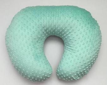 Minky Nursing Pillow Cover- Soft Mint Green Breastfeeding Pillow- Nursing Pillow Slipcover-  Baby Shower Gift Woodland light Green Succulent