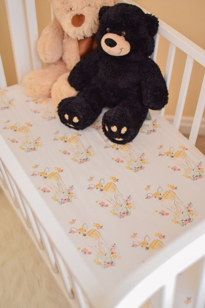 Floral Deer Crib Bedding Sets Modern pink- Trees Flowers chic gold- Rail Bumper Nursery Fitted Sheets boho change Pad Stag Rustic