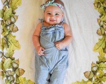 Leaves Newborn Photo Prop - Spring Milestone Wreath Blanket - Summer Swaddle Blanket Woodland newborn Photography Prop - Baby Shower Gift