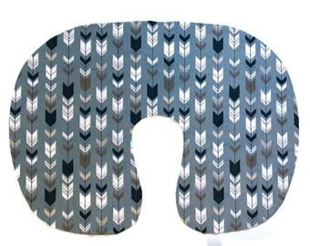 Arrow Nursing Pillow Cover - Cover for Boys - Grey Woodland Slipcover - Nursery Bedding - Pillow Cover - Minky BreastfeedingCover -  Blue