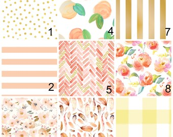 Peach Bedding - Rose Gold Girl Nursery Set - Fitted Crib Sheet Peaches - Peachy Minky Blanket - Girls Flower Bedding -Floral Gold Dots