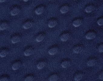 25 x 68 inch piece navy Minky dimple dot fabric