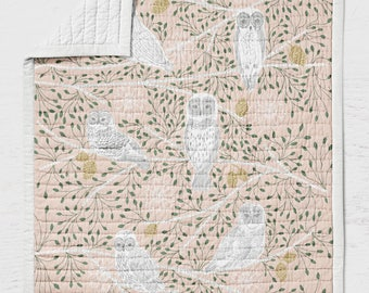 Snowy Owl Quilt - Woodland Crib Quilt - Rustic Toddler Bedding - Birds Throw Blanket-  Nursery Wholecloth Quilt Bed- Girl Pink Gold Feathers