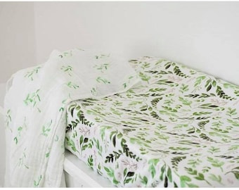 Greenery Changing Pad Cover, Green Leaves Diaper Change Pad, Neutral Change Pad Cover, Woodland Changing Pad Cover, Contoured Changing Leaf