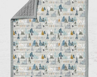 Adventure Quilt - Mountains Throw Lap- Baby Blanket - Toddler Bedding-  Outdoors Nursery Decor- Baby Gift  Cotton Grey Gender Neutral Gift