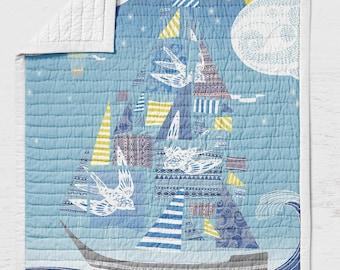 Sail Boat Quilt -Hot Air Balloon Toddler Quilt- Nautical Nursery Bedding - Travel Adult lap Quilt- Adventure Crib Quilt- Birds Kids Bedding