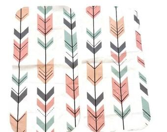 Arrow Burp Cloths- Mint Pink Baby Shower Gift Set- Grey arrows Infant Burping Rags- Breastfeeding Feeding Newborn - Woodland Nursery- Girl