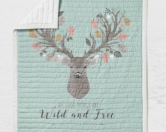 Deer Baby Quilt - Fawn Crib Quilt - Toddler Bedding- Infant Rustic Baby Shower Gift- Gender Neutral Woodland Nursery - Wholecloth Quilt