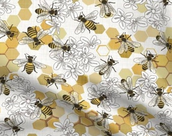 Bumble Bees Crib Bedding - HoneyComb Fitted Crib Sheet, Honey Bee Changing Pad Cover, Nursery Set Floral Nectar Swaddle Blanket Baby Shower