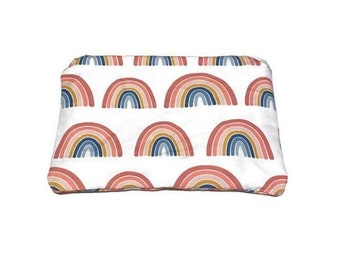 Rainbow Zipper Pouch, Rainbows Travel Accessory Pouch, Pink Blue Passport Case, Gold Cosmetic Make Up Toiletry Bag, Blue Stripe Teen Pencil