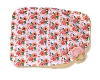 Small Pink Floral Baby Lovey - Red Flowers Lovie Blanket - Girl Newborn Receiving Blanket- Infant Blanket Girls Baby Green Leaves teether
