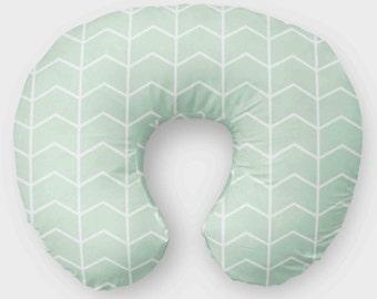 Mint Nursing Pillow Cover - Modern Mint Green Slipcover - Gender Neutral Pillow Cover - Boys Mint Nursing Cover - Newborn Gift - Chevron