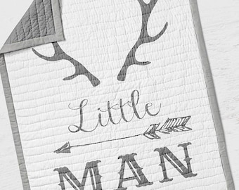 Little Man Baby Quilt - Antlers Deer Crib Quilt - Arrow Toddler Bedding- Infant Rustic Baby Shower Gift- Gender Neutral Woodland Nursery