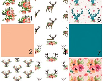 Deer Girls Bedding - Pink Floral Fawn Fitted  Crib Sheet - Teal Flowers Girls Woodland Nursery Set Change Pad Cover Rail Guard Crib skirt