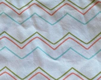 "21"" x 58"" wide piece canvas fabric - peachy chevron - spoonflower Cotton twill fabric prewashed"