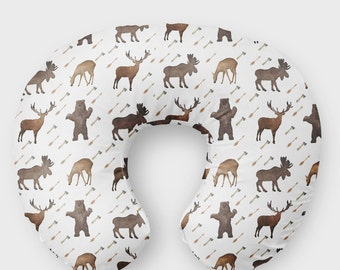 Woodland Nursing Pillow Cover Moose Bear Slipcover - Arrow Deer Nursing Pillow Cover - Infant Brown Pillow Cover - Minky Baby Shower Gift