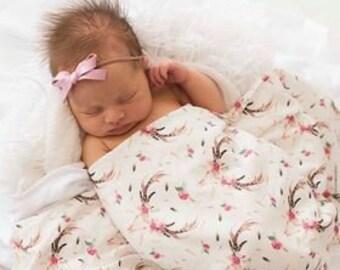 Boho Skull Hospital Blanket - Desert Rose Floral Swaddle Blankets - Pink Hospital Swaddle - Girl Baby Blanket - Girls Newborn Swaddle Knit