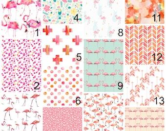 Pink Girl bedding, Pink Crib Bedding, Baby Girl Bedding, Nursery Crib set, pink Flamingo  Nursery Bedding, Bumperless Crib Bedding, Tropical