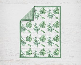 Green watercolor Palm Leaves Quilt - Baby Blanket - Tropical Green - boho Baby Blanket - Toddler Quilt - modern green and white quilt