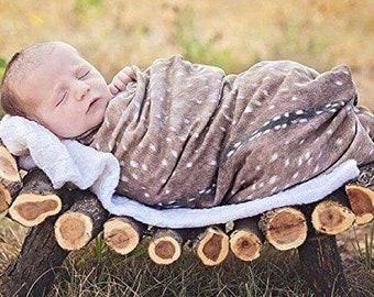 Deer Swaddle Blanket - Woodland Fawn Baby Shower Gift - Buck Hunting Swaddle Blanket - Hospital Blanket - Baby Newborn Swaddle - Knit