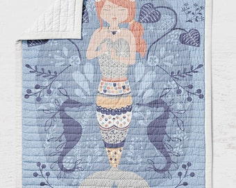 Mermaid Quilt - Beachy Crib Baby Quilt - Sea Toddler Bedding - Infant Beach Baby Shower Gift- Ocean Nursery -Girls Bedroom Wholecloth Quilt