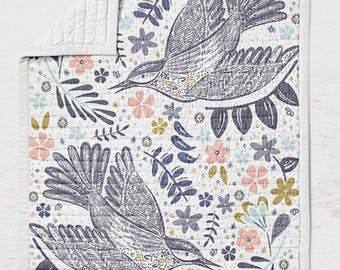 Blue Bird Quilt - Birds Crib Quilt - Toddler Bedding - Rustic Throw Blanket - Woodland Nursery - Wholecloth Lap  Quilt Bed- Blue Pink Quilt