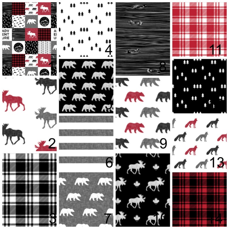 boppy cover red black plaid rustic bear crib skirt arrows fitted crib sheet Woodland Baby Bedding crib bumper moose changing pad cover