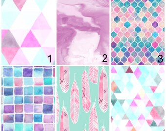 Modern Mermaid Nursery - Teal Watercolor Toddler Bedding Sets - Pink Geo Fitted Crib Sheet -  Feathers Change Pad Cover- Girls Rail Guard